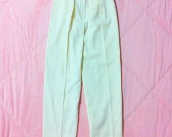 90s Vintage Cream White Pants, Vintage White Trousers, Vintage Wool Trousers, Vintage White Pants, Cream White Trousers