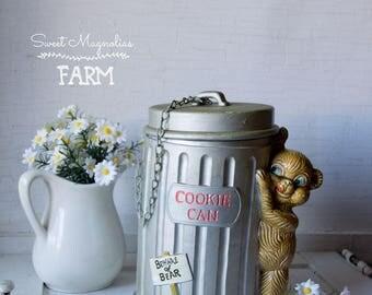 Vintage Cookie Can Jar - Bear - 1960s - 1970s - Enesco -Kitchenalia -