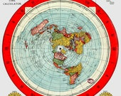 "Flat Earth Map - Gleason's New Standard Map Of The World - Large 33"" x 23"" 1892"