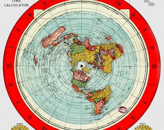 Flat Earth Map - Gleason's New Standard Map Of The World - A1 or A2