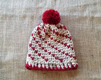 Crochet fair isle, hearts newborn beanie with pompom in oatmeal tweed and red