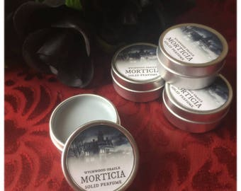 Morticia Solid Perfume. White Musk. Jasmine & Ylang Ylang Fragrance. Addams Family Inspired. Tish. Dark Romance.  Free Fortune Teller Card