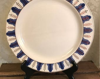 Vintage Large Plate Platter By Homer Laughlin -Blue Gold - Backstamp B 37 N 6 - Made In USA - 1930's