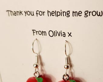Teacher Gift Gorgeous 3D Red Apple Earrings Giftcard Set - Thank you for helping me grow. Quality Silver Plated Drop Earrings. Best teacher