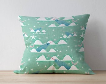 Narwhal Pillow, Nursery Cushion, Kids Pillow Cushion, Woodland Cushion, Home decor, Children Room Decor, Nursery Decor, Playroom decor