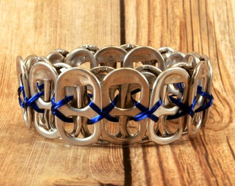 Can Tab Bracelet - Royal Blue - Upcycled Jewelry - Recycled - Gift for Her - Gift for Him - Unique - Pop Tab - Beer Tab - Aluminum -Pull Tab