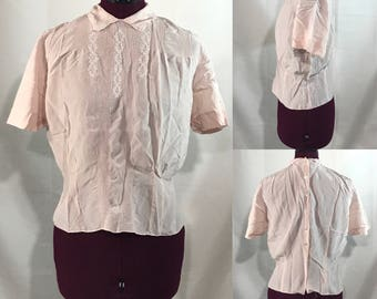 1950's | Saks Fifth Avenue Blouse | pink 100% Silk