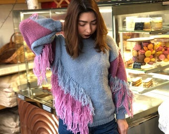 Blue pink sweater, boho fringe clothing, loose knit pullover, plus size jumper, wool long sleeve, hipster knitted sweater, gift for daughter