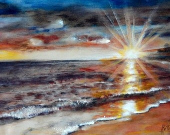 Sunset in Paphos silk / oil, 40x60, Cyprus, 2015 year