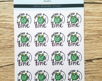 Arrived On Time | Hand Drawn Planner Stickers (G013)