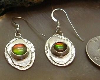 Ammolite Earrings Sterling Silver OOAK Statement Earrings Utah Gems Statement Jewelry Red Green Yellow Fire 188 G