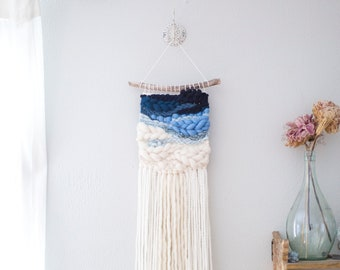 Blue Ombre wall hanging \\ Weave \\ RTS \\ woven wall hanging \\ tapestry \\ handwoven wall art \\ blue nursery decor \\ blue home decor