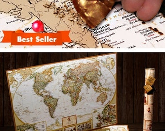 Scratchable the World® - scratch off places you travel map print! - gift for him, gift for her, travel gift, gift, wall hanging, home decor