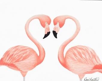 Print of Flamingo Heart