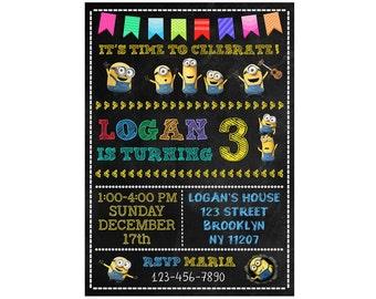 Minions Invitation, Minions Birthday Invitation, Minions Birthday Party