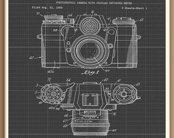 Old camera blueprint etsy vintage photographic camera patent print 1962 set on a grey blueprint background instant download vintage malvernweather Gallery