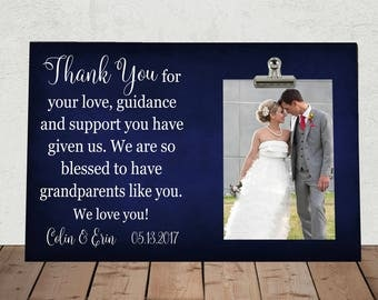 WEDDING gift for GRANDPARENTS of the Bride and/or Groom, Thank you for your love guidance and support..., Personalized Free, Mom, Dad ty01