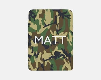 Camo Blanket, Personalized Blanket, Camouflage Blanket, Monogram Blanket, Fleece Blanket, Throw Blanket, Cozy Blanket, Green Blanket,