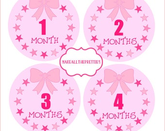 Baby Month Stickers. Girls Monthly Milestone Stars and Bows Sticker Kit, Newborn Baby or Baby Shower Gift, Baby Photo Prop, New Baby Gift