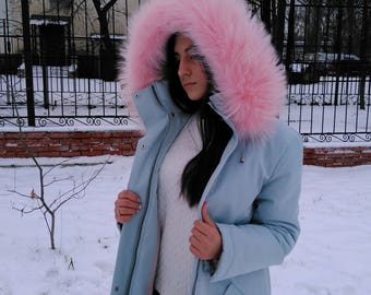 Parka With Fur Trim.