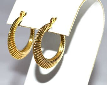 9ct Gold Earrings Lovely Creole Full Hoops Hallmarked Great Quality