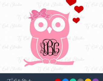 Owl SVG, Owl with Bow Monogram, Owls Monogram, Monogram Owl, Svg Files for Silhouette Cameo or Cricut Commercial & Personal Use