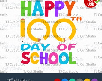 Happy 100th Day of School svg,  100 Days of School SVG, 100 days Svg,  Svg Files for Silhouette Cameo or Cricut, Commercial & Personal Use.