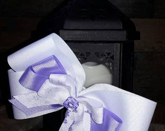 White and Lavender Layered Bow