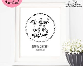 Eat Drink and Be Married, Wedding Sign, Wedding Cards Sign, Wedding Decor, Digital Download, Digital Wedding Sign, Wedding Sign, SKU#SIGN019