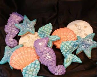 Under the Sea Custom Decorated Sugar Cookies with Mermaid Tail, Seahorse, Sand dollar, Starfish