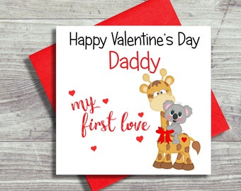 Sweet Valentine's Card For Daddy, Dad, From Son, Daughter, Valentines Day Card, First Love