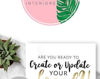 432 - Premade Logo, Logo Design, Branding, Blog, Business, Modern, Photographer, Boutique, Shop, Brand, Palm, Fern, Tropical