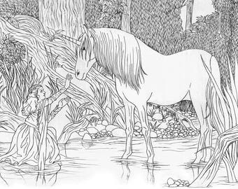 Legend 1985 Princess Lilly and Unicorn Adult Coloring Page Digital Download
