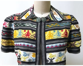 Vintage 1940s Guatemalan Embroidered Jacket S ~ M