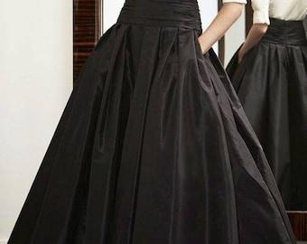 Floor length taffeta skirt