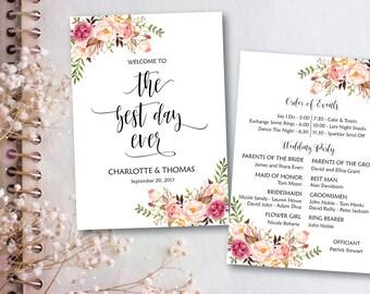 The Best Day Ever, The Best Day Wedding, DIY Wedding Program, Fun Wedding Program, Printable Wedding Program Fan - INSTANT DOWNLOAD-PR007-2