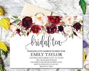 Bridal Tea Party Invitation, Editable Bridal Shower Invite Template, Boho Bridal Tea, Bridal Tea Party, INSTANT DOWNLOAD, Bridal Tea 01
