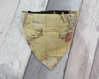 Map of the World Dog Bandana, dog clothes, dog accessories, slip on bandana, pet accessories, detachable bandana, collar accessory