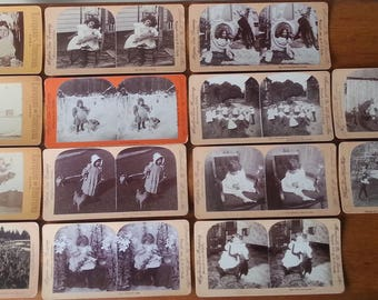 Antique Stereoviews Cards Lot Of 14 Children Photographs Stereographs Antique Photos Kids Themed Photograph Collectibles Vintage Old Photos