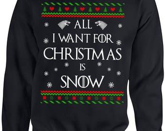 Game of Thrones, Ugly Christmas Sweater,  Jon Snow, All I Want for Christmas is Jon Snow, Game of Thrones Ugly Sweater, Ugly Sweater, Got