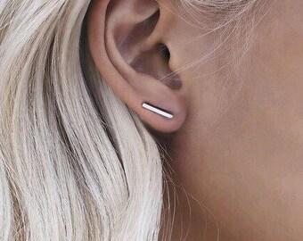 Silver Bar Ear Climber Earrings Gold Bar Climbers Minimalist Fashion Small Rectangle Lobe Pin Crawler Simple
