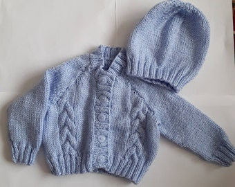 Knitted Baby Cardigan And Hat, Baby Clothes, Baby Gift, Baby Boy