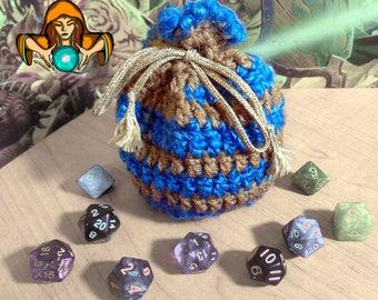 Spiral Drawstring Dice Bag - Large - Blue