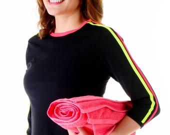 Double Stripe Swim n' Sport 3/4 Sleeve Active Wear Shirt - Chlorine Proof