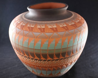 Signed Billy Dennison Navajo Etched Vase, Large with Dramatic Colors and Detail, 1997