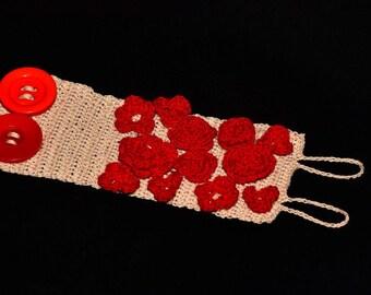 Crochet Cuff Bracelet/ Red Roses/ Red Flowers