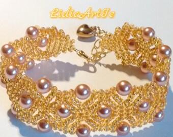 Pearl bracelet,pulsera,swarovski pearl bracelet,beaded bracelet,gold bracelet