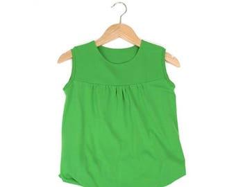 Girl blouse tunic tunics green sleeveless girls summer