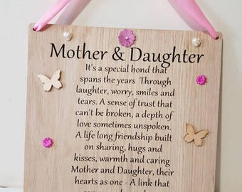 Mother and Daughter Mothers Day Gift Keepsake Gift Mum Personalised Mum Gift to Daughter Newborn gift to Mum Birthday Gift Mother Gifts