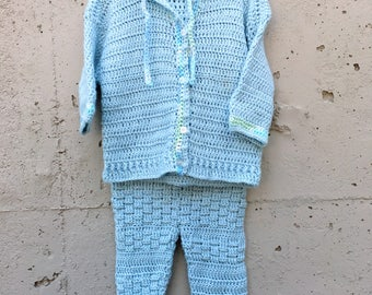 Vintage Handmade/Knitted Sweater with hood and Pant set 12-18months